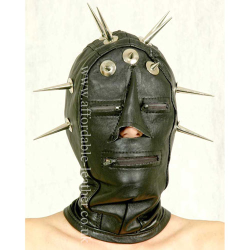 Spiked Leather Hood With Zip Eyes and Zip Mouth